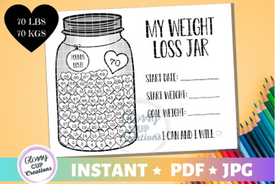 My Weight Loss Jar 70lbs, JPG, PDF, Printable Coloring Page!