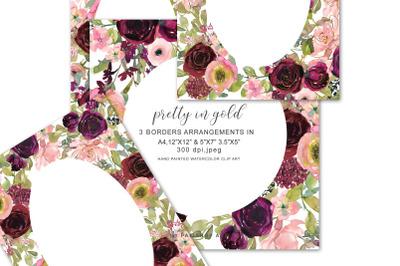 Blush Burgundy and Gold Flowers Watercolor Border Arrangements