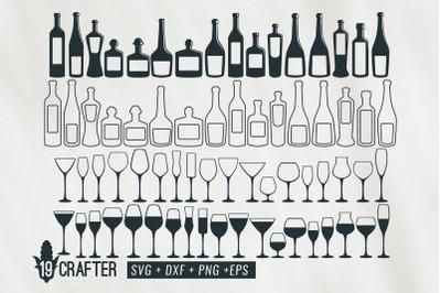 wine glass and bottle wine svg bundle