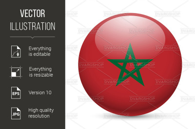 """Round glossy icon of Morocco"""