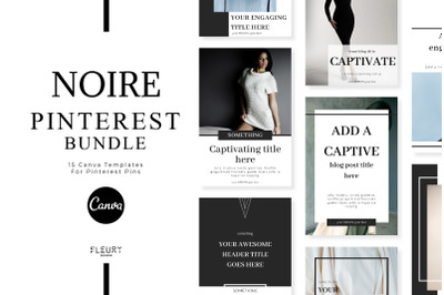 NOIRE - Pinterest Templates for Canva