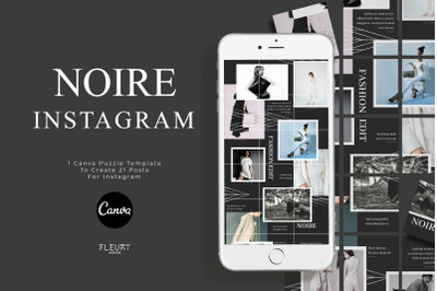 NOIRE - Instagram Puzzle Template for Canva