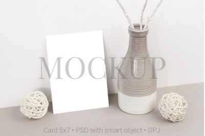 Card mockup with vase & FREE BONUS
