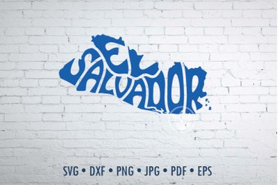 El Salvador Word Art, Svg Dxf Eps Png Jpg, Cut file