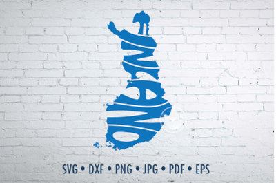 Finland Word Art in map shape, Svg Dxf Eps Png Jpg, Cut file
