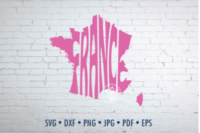 France Word Art, Svg Dxf Eps Png Jpg, Cut file