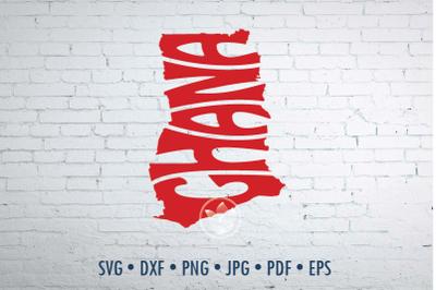 Ghana Word Art, Svg Dxf Eps Png Jpg, Words in map shape, Cut file