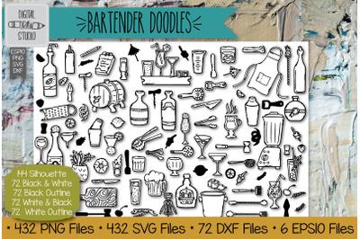 432 Bartender Doodles | Hand Drawn Bar tending tools Illustrations