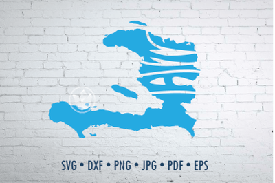 Haiti Word Art, Svg Dxf Eps Png Jpg, Words in map shape, Cut file