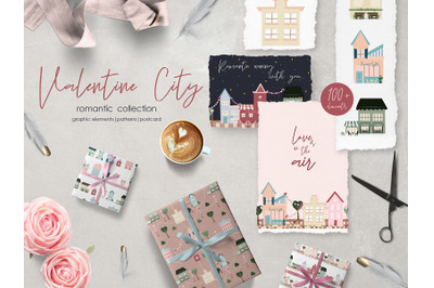 Valentine City. Patterns and postcard