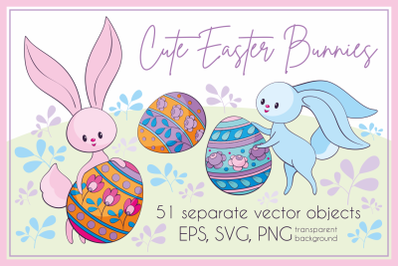 Cute Easter bunnies. Vector clip arts.