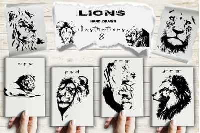 Hand drawn lions. Vector +