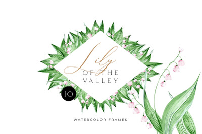 Watercolor lily of the valley easter frames. Meadow floral Clipart. Wa