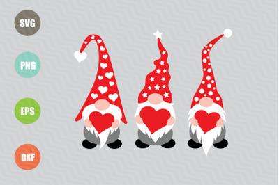 Three Gnomes Holding Hearts SVG