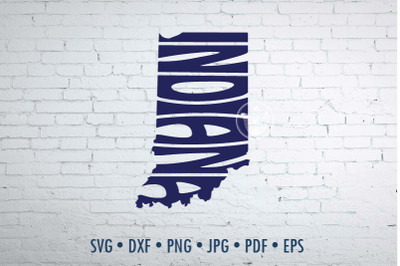 Indiana Word Art in map shape, Svg Dxf Eps Png Jpg