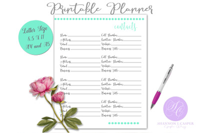 Contacts Printable Planner Page