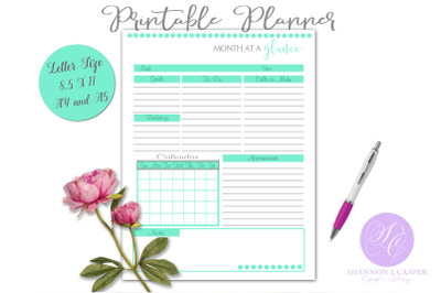 Month at a Glance Printable Planner Page