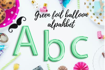 Marine Green foil balloon alphabet clipart, Green balloons, Green Foil