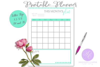 Monthly Planner Printable Page