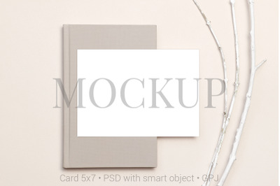 Card mockup on notebook and branches & FREE BONUS