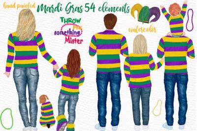 Mardi Gras clipart,Family clipart, Mardi Gras parade clipart