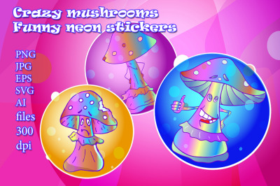 Crazy mushrooms. Funny neon stickers