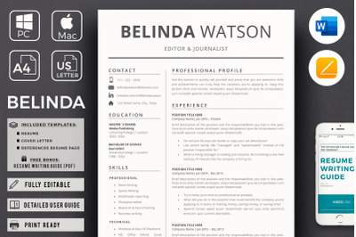 Professional and Modern Resume Design + References page + Cover Letter