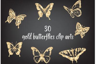 Gold foil butterfly, Butterflies clip art, Golden insects