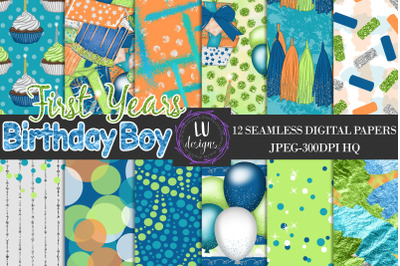 Birthday Boy Party Digital Papers, Birthday Backgrounds