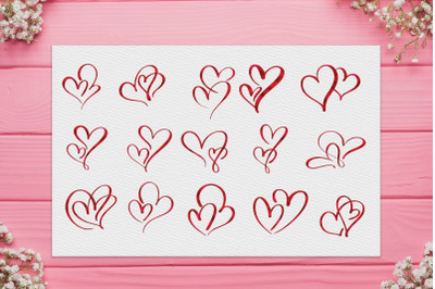 Red Heart Clipart, Valentines Day clipart, Hearts Borders, Valentine's