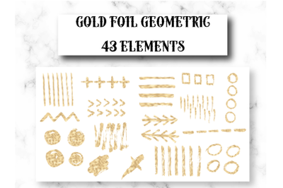 43 Geometric golden designs, Gold foil design elements, Gold dots, Gold brush strokes, Gold banners and logo elements, Gold hearts
