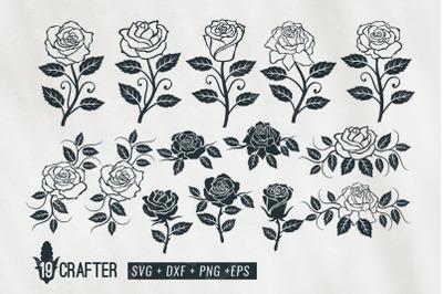 Rose flower clipart decoration svg bundle