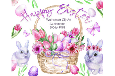 Watercolor Easter set with bunnies, eggs and flowers.