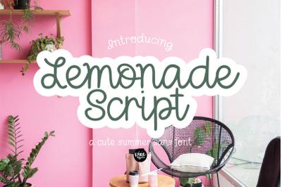 Lemonade Script - a Cute Hand Lettered Script Font