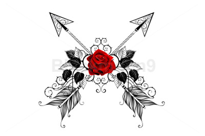 Black Arrows with Red Roses