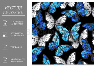 Dark Seamless Pattern with Blue Butterflies