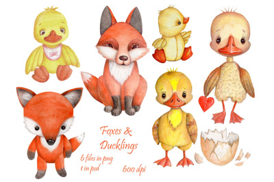Watercolor Foxes and Ducklings