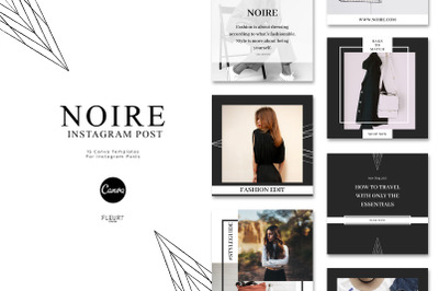 NOIRE - Instagram Posts Template for Canva