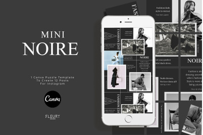 NOIRE - Mini Instagram Puzzle Template for Canva