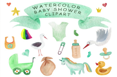 baby shower watercolor clipart.