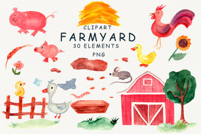 Farm yard watercolor clipart