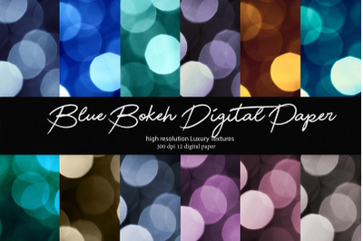 Blue Bokeh Digital Paper