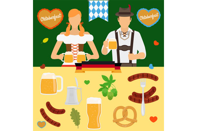 Oktoberfest icons. Germany beer festival Octoberfest icon vector set