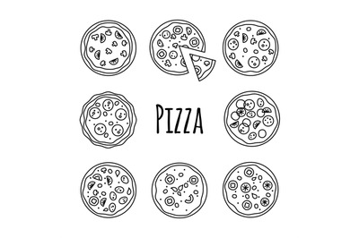 Line icons pizza set vector illustration on white