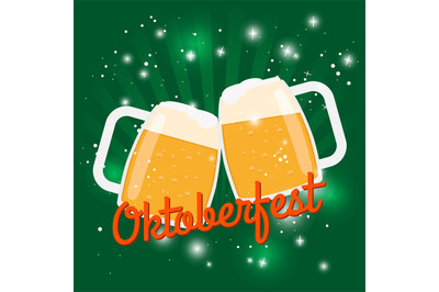 Oktoberfest beer poster. Octoberfest vector illustration with two foam