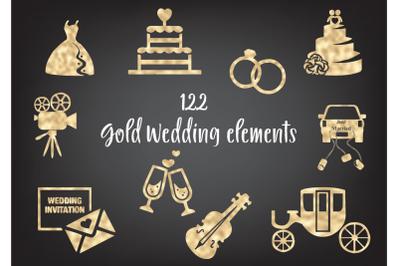 Gold foil wedding design elements, Gold wedding rings, Wedding dress,