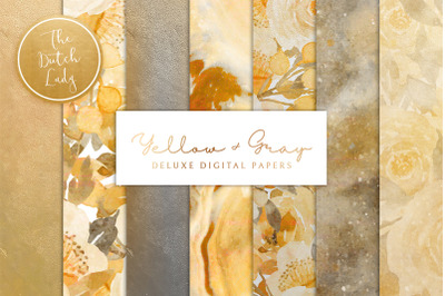 Digital Backgrounds & Papers - Yellow & Gray