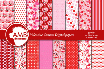Happy Valentine Gnome papers AMB-2705