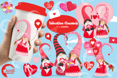 Happy Valentine gnomes clipart AMB-2704