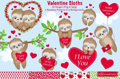 Valentine clipart, valentine sloth -C43